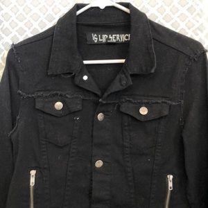 Lip service black denim biker style zipper jacket